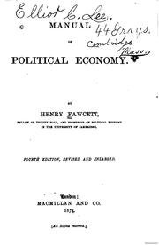 Cover of: Manual of political economy