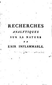 Cover of: Recherches analytiques sur la nature de l'air inflammable