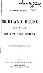 Cover of: Giordano Bruno da Nola