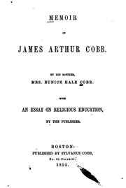Cover of: Memoir of James Arthur Cobb. | Eunice Hale Cobb
