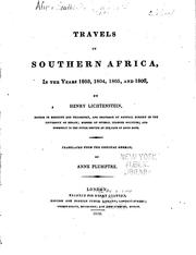 Cover of: Travels in southern Africa in the years 1803, 1804, 1805 and 1806 | Hinrich Lichtenstein