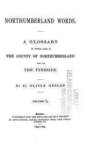 Cover of: Northumberland words, volume 2 | Richard Oliver Heslop