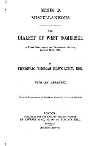 Cover of: The dialect of west Somerset
