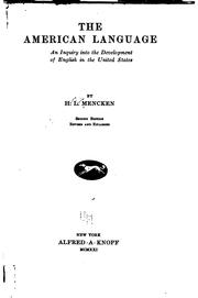 Cover of: The American language by H. L. Mencken