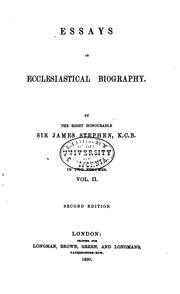 Cover of: Essays in ecclesiastical biography. | Stephen, James Sir