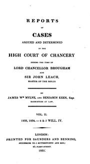 Cover of: Reports of cases argued and determined in the High court of chancery | Great Britain. Court of Chancery.
