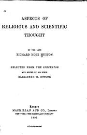 Cover of: Aspects of religious and scientific thought: selected from the Spectator and edited by his niece, Elizabeth M. Roscoe