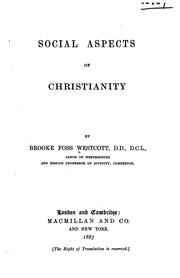 Cover of: Social aspects of Christianity