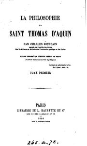 Cover of: La philosophie de saint Thomas d'Aquin