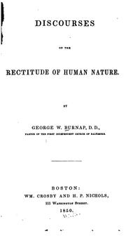Cover of: Discourse on the rectitude of human nature