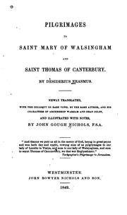 Pilgrimages to Saint Mary of Walsingham and Saint Thomas of Canterbury by Desiderius Erasmus