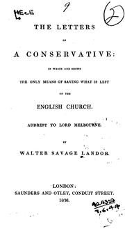 Cover of: The letters of a Conservative