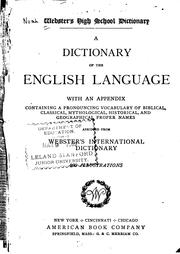 Cover of: Webster's high school dictionary: a dictionary of the English language ...