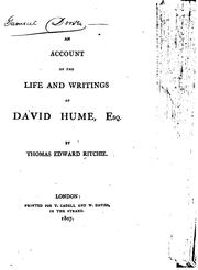Cover of: account of the life and writings of David Hume, esq. | Thomas Edward Ritchie