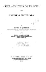Cover of: analysis of paints and painting materials | Henry A. Gardner