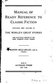 Cover of: Manual of ready reference to classic fiction