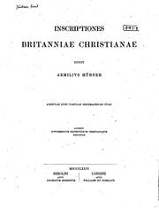 Cover of: Inscriptiones Britanniae christianae