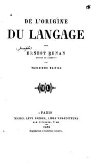 Cover of: De l'origine du langage