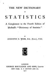 Cover of: new dictionary of statistics | Augustus D. Webb