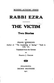 Cover of: Rabbi Ezra ; The victim: two stories