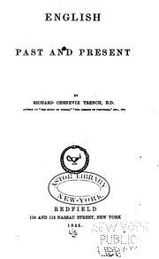 Cover of: English, past and present