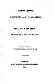 Cover of: Observations, anecdotes, and characters of books and men