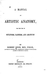 Cover of: manual of artistic anatomy | Knox, Robert