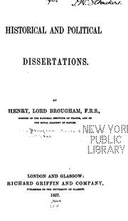 Cover of: Historical and political dissertations