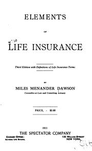Cover of: Elements of life insurance