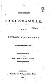 Cover of: A compendious Pali grammar by Benjamin Clough