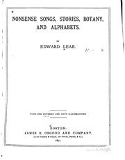 Cover of: Nonsense songs, stories, botany, and alphabets. | Lear, Edward