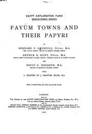 Cover of: Fayûm towns and their papyri