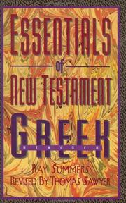 Cover of: Essentials of New Testament Greek | Ray Summers