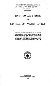 Cover of: Uniform accounts for systems of water supply | United States. Bureau of the Census