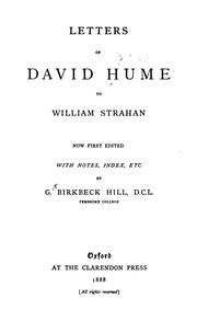 Cover of: Letters of David Hume to William Strahan