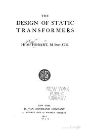 Cover of: The design of static transformers