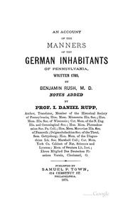Cover of: An account of the manners of the German inhabitants of Pennsylvania