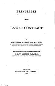 Cover of: Principles of the law of contract