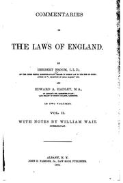 Cover of: Commentaries on the laws of England