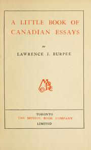 Cover of: A little book of Canadian essays