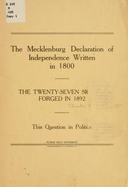 The Mecklenburg Declaration of Independence written in 1800 by Van Noppen, Charles Leonard