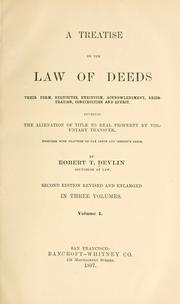 Cover of: A treatise on the law of deeds