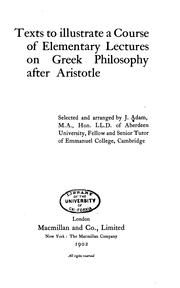 Cover of: Texts to illustrate a course of elementary lectures on Greek philosophy after Aristotle