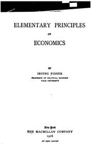 Cover of: Elementary principles of economics