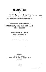 Cover of: Memoirs of Constant, the Emperor Napoleon's head valet