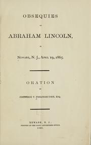 Cover of: Obsequies of Abraham Lincoln, in Newark, N.J., April 19, 1865