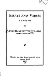 Cover of: Essays and verses | John Harrington Edwards