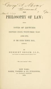 Cover of: The philosophy of law