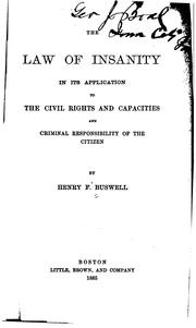 Cover of: law of insanity | Henry F. Buswell