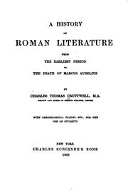 Cover of: A history of Roman literature | Charles Thomas Cruttwell